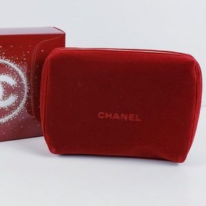 CHANEL - Red Velvet Cosmetic Bag With Gift Box